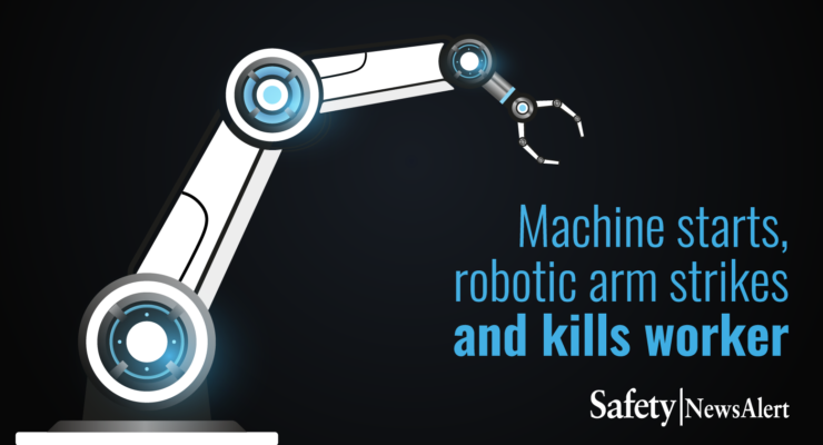 machine starts robotic arm strikes and kills worker